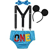 OBEEII Neonato Bambino 4 Pezzi Pantaloncini + Cravatta a Farfalla + Bretelle + Mickey Fasc...