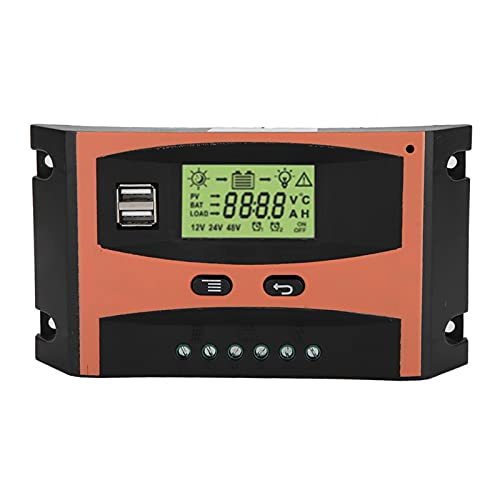 MPPT Controller, Fydun Simplified Version MPPT Charge Controller PCB Circuit Board Solar Panel Regulator 12V   24V LCD Display Automatic Battery Controller Orange + Black(40A)