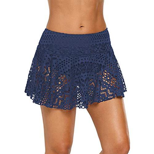 Goosuny Damen Rock High Waist Spitze Minirock Strand Sommerröcke Sexy Aushöhlen A-Linie Damenröcke Faltenrock Mit Bikinihose Bikini Bottom Slip