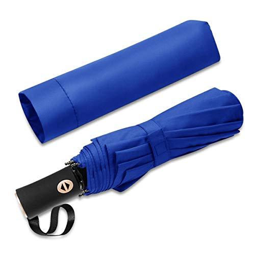 DORRISO Fashion Men Women Automatic Foldable Umbrellas Reinforced Windproof Portable Compact Lightweight Travel Fast Drying Umbrella Blue C