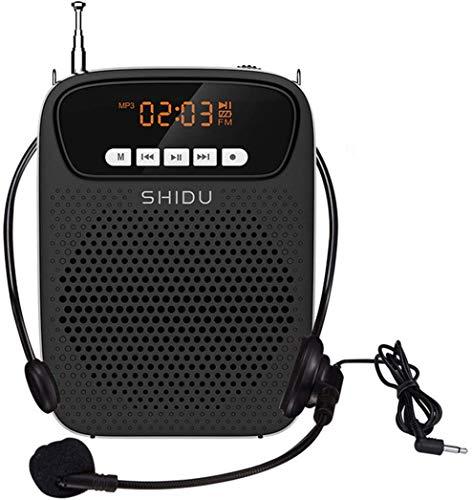 SHIDU Amplificador de voz portátil con micrófono, 15W batería recargable Voice Amplifier, sistema de megafonía, Bluetooth amplificador voz para profesores, guías turísticos, entrenadores deportivos,