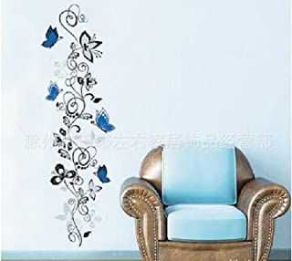 14035cm White Flowers Rattan Blue Butterfly Decals Removable Waterproof Home Art Decoration Mural Sitting Room Bedroom Wall Stickers Vinyl DIY Art Decals Sofa Background