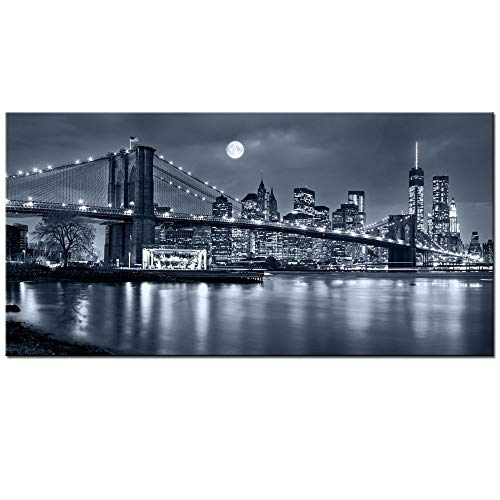 LevvArts - Large Size Brooklyn Bridge Canvas Wall Art,Moon Night New York City Scene Picture Print on Canvas,Framed Gallery Wrapped,Modern Home and Office Decoration,-24'x48'