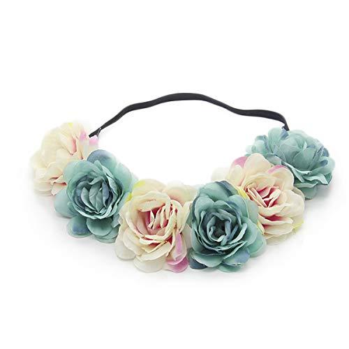 Miaoo - Diadema con guirnalda de rosas para bodas, fiestas, festivales; accesorio para el pelo para niñas, novia y dama de honor