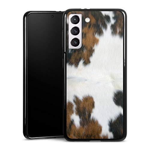 DeinDesign Silikon Hülle kompatibel mit Samsung Galaxy S21 5G Case schwarz Handyhülle Kuhfell Fell Kuh