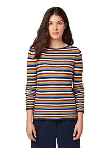 TOM TAILOR Damen Pullover & Strickjacken Gestreifter Strick-Sweater mutlicolor Stripe,S
