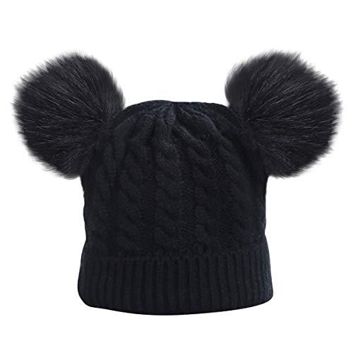 puseky Säugling Baby Mädchen Mädchen Strickmütze Winter Warme Mütze mit Pompon Bällen für 0-3 Jahre Babys