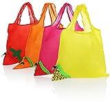 com-four® Bolsa de Compras de Nailon Plegable 4X, Bolsa de Compras Reutilizable, Bolsa de Compras con Bolsa de Transporte en diseño de Frutas [la selección varía] (04 Piezas - Fruta - 4 Colores)