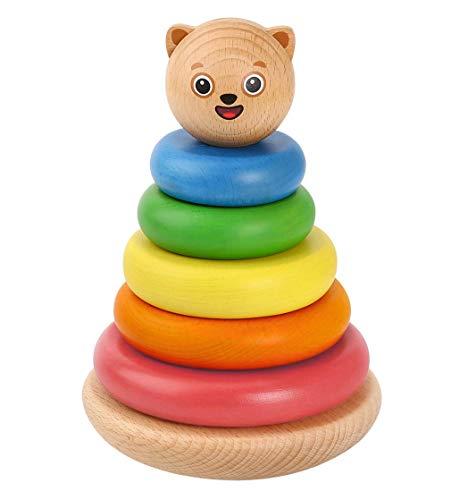 Bimi Boo Baby Stapelturm aus Holz - Stapelpyramide für Kindergartenkinder und Kleinkinder im Alter von 2 bis 5 (Stapelspiel Pyramide mit Stapelringen, 7 Teile)