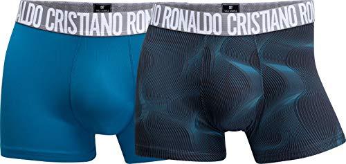 CR7 Cristiano Ronaldo - Fashion - Boxershorts aus Microfaser - Herren - 2-Pack - Schwarz/Türkis (422) - Grösse M (CR7-8502-4900-422-M)