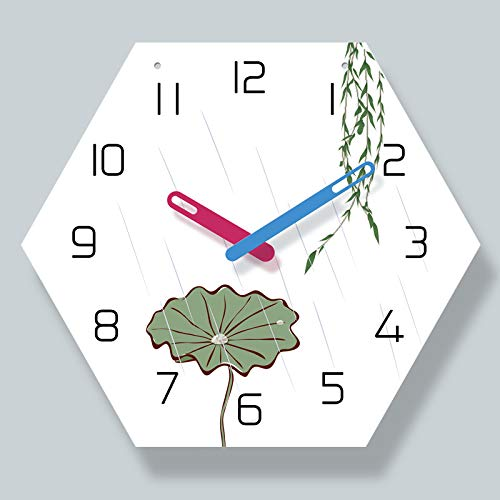 Leeypltm Reloj de Cuarzo de Pared silencioso,Reloj de Pared Lotus de Seis Lados de14PulgadasDecorativo para el hogar/la Cocina/la Oficina/la Escuela, fácil Leer y con Pilas