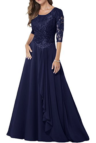 MILANO BRIDE Modest Bridal Mother Dress 1/2 Sleeves A-line Jewel Long Lace-16-Navy Blue (Modest Mother Of The Bride Dresses With Sleeves)