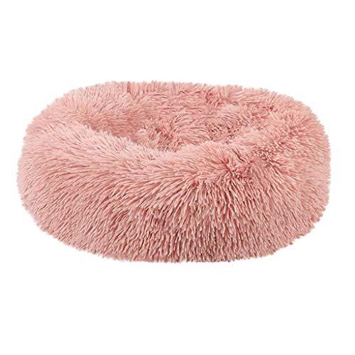 Komfortable Plüsch Zwinger Hunde Haustierstreu Tiefschlaf PV Katzenstreu Schlafbetten (50 * 50 * 27cm,Rosa)
