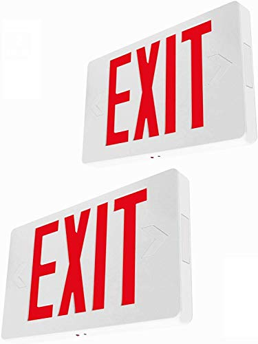 Ultra Slim LED Exit Sign, Red Letter Emergency exit Lights, 120V-277V Universal Mounting Double Face (2-Pack)