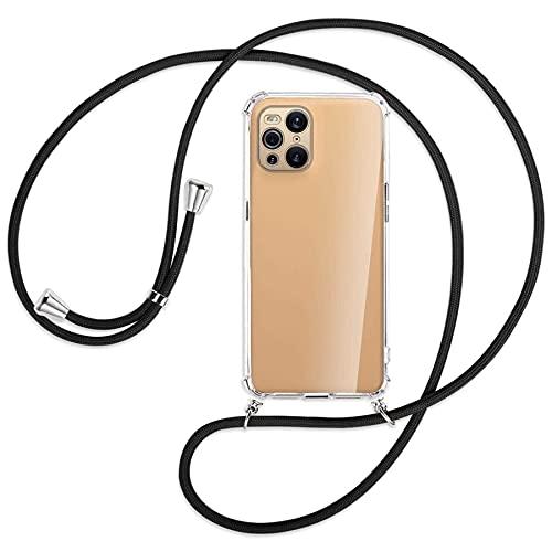 mtb more energy® Handykette kompatibel mit Oppo Find X3 Pro (6.7'') - schwarz - Smartphone Hülle zum Umhängen - Anti Shock Full TPU Hülle