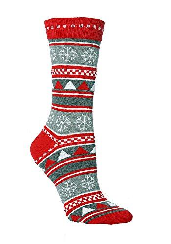 Festive Feet 1 Paar Damen Neuheit Weihnachten Schneeflocken/Streifen Socken UK 08.04 EUR 37-42 Grau/Rot