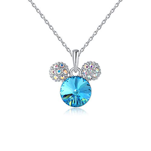 HERMOSO Lovely Mouse Pendant Necklace for Girls/Womens,Made with Swarovski Crystal, Choker Chain 16+2inch Jewellery (Blue)