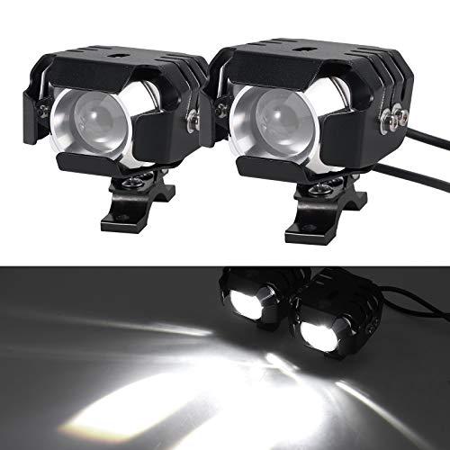 2 x 20W Motorrad Scheinwerfer mit Schalter Netzkabel Motorrad vorne Scheinwerfer LED Nebelscheinwerfer Lampe 12-24V für Fahrzeuge wie Motorräder, Fahrräder, Autos, LKW, Boot