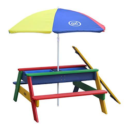 AXI Nick Kinder Sand & Wasser Picknicktisch aus Holz | Wasserspieltisch & Sandtisch mit Deckel und Behältern | Kindertisch / Matschtisch in Regenbogen Farben mit Sonnenschirm für den Garten