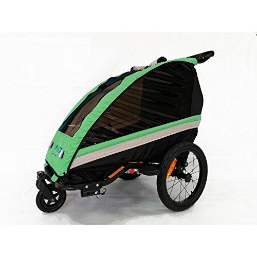 RBO Remolque de Bicicleta para niños One, monoplaza, Plegado rapido, antivuelvo, Manillar Regulable, Rueda 360, Frenos Independientes. Color Verde