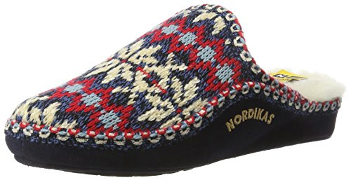Nordikas Classic, Zapatillas de Estar por casa con talón Abierto Mujer, Azul (Marino), 38 EU