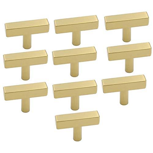 Fransande 10 pomos de armario de un solo agujero de latón cepillado para cajones de aparador, tiradores modernos de armario