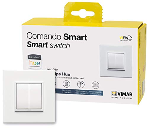 VIMAR 0K03906.03 Kit Friends of Hue contenant: 1 commande 03906, 1 support 21507.B blanc, 2 touches 20506.B plaque 2 modules Eikon Evo total 21642.17, 95x95x4mm