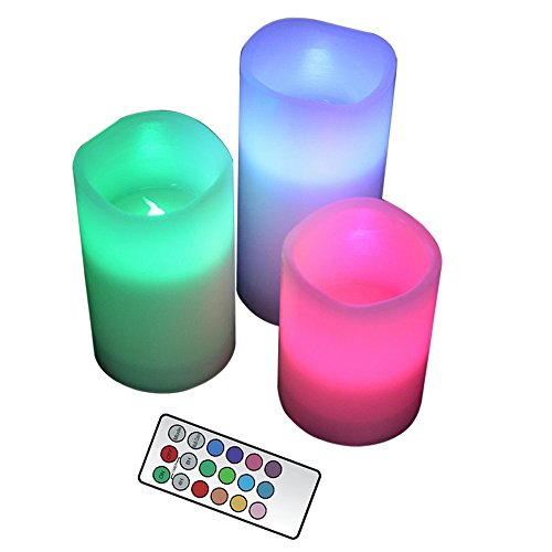 YAKii LED Flameless Real Wax Candle Color Changing, Battery Operated Candles with Timer, Multi Function Remote Control, Set of 3
