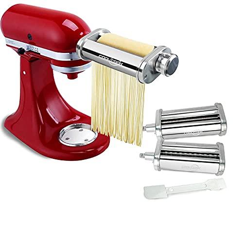 Nudelvorsatz für KitchenAid Küchenmaschine, Edelstahl Nudelvorsatz mit Nudelblattroller Spaghettischneider Fettuccineschneider, Ersatzteile für KitchenAid, COOLCOOK Pasta Zubehör für KitchenAid