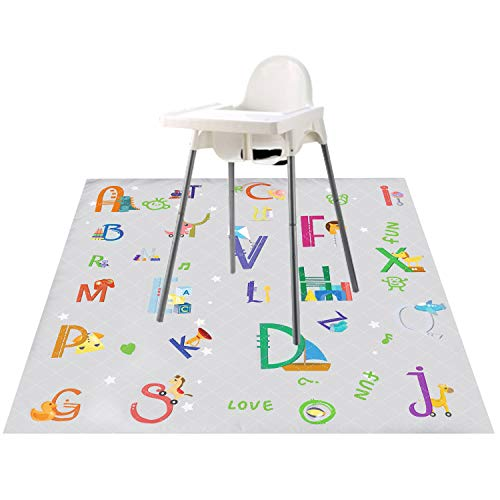 Nidoul Waterproof Splat Mat for Highchair, Extra Large 51' Baby Kids Spill Floor Mat for Feeding/Painting/Art Crafts/Playtime/Picnic, Washable Anti-Slip Food Spill Mess Mat