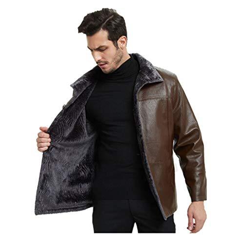 Heren business-blazer lederen jas Plus grootte verdikt warm wind trenchcoat herfst winter plus fluweel Outerwea zwart bruin