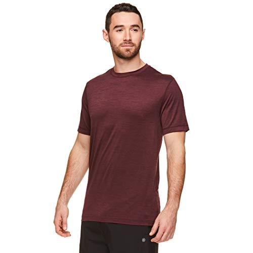 Gaiam Men's Everyday Basic Crew Neck T Shirt - Short Sleeve Yoga & Workout Top - Winetasing Heather, Medium