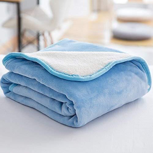 Crystallly dubbellaags flanellen deken kantoor nap tweepersoons beddengoed deken eenvoudige stijl 180 * 200 cm blauw Simplicity Classic Mode Style