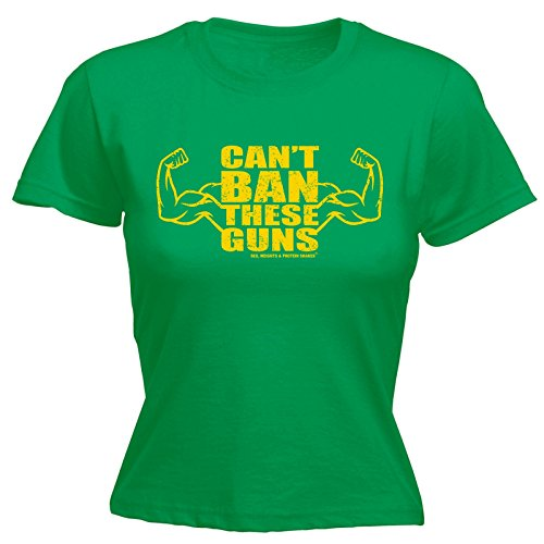 Sex Weights And Protein Shakes Novelty Funny Top - Women's Can't BAN These Guns (L Kelly Green) Fitted T-Shirt Womens Slogan t Shirts Ladies t-Shirts Graphic Pun for Kids