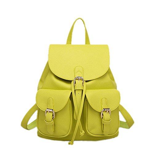 DELEY Femme Mode Design Multi Poches Fourre-Tout Sac À Main D'Épaule Sac À Dos Vert