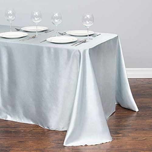 Mantel de satén Blanco Rectángulo Decoraciones para Banquetes de Boda Cubierta de Mesa Manteles navideños para decoración de mesas de Eventos en casa - Plata, 145x160CM-57x63inch