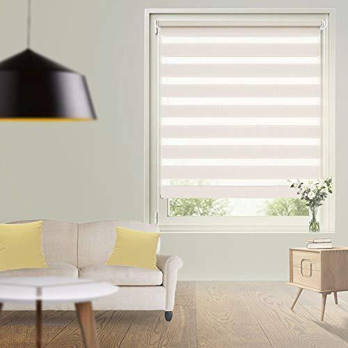 Store Jour Nuit Klemmfix - 70x230cm Lin - Store Enrouleur sans parcage Fixation Facile - Double Couches Tamisant pour Fenêtre & Porte