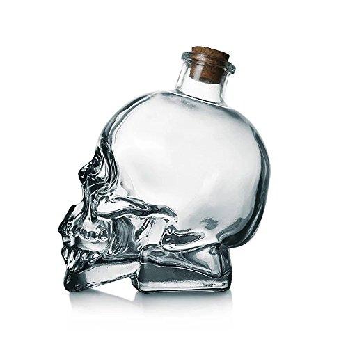 Skull Decanter Lead-free Glass Skull Prop Whiskey Bottle With Cork Stopper (180ML)