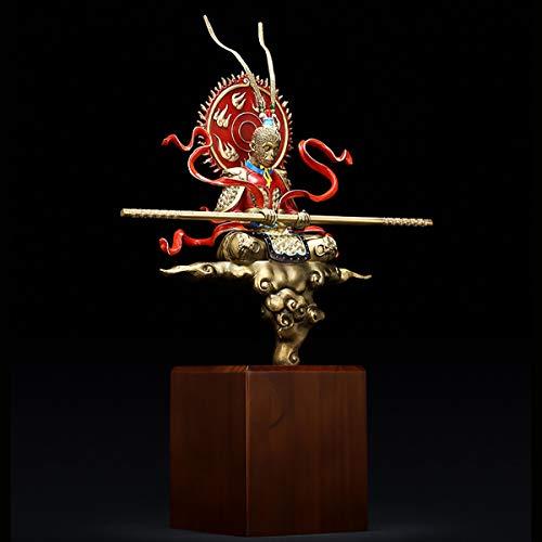 HIZZEEN Klassische Monkey King Aufklärung Messing Statue Handgefertigte Handgemalte Coloring Wachsausschmelzverfahren Hauptdekoration, chinesische Klassik Traditionelle Technologie