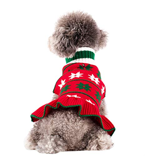 kyeese Dog Sweaters Red Small Turtleneck Dog Sweater Dress Knit Warm Cat Sweater with Leash Hole