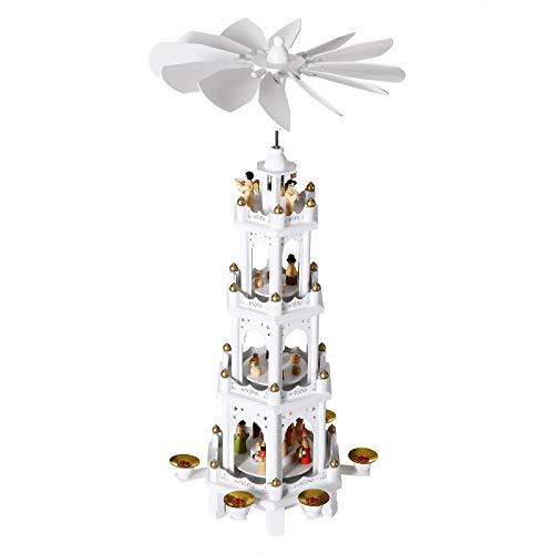 Spielwerk Piramide di Natale in Legno 4 Piani XL Girevole Decorazione Addobbo Natalizio Ornamenti