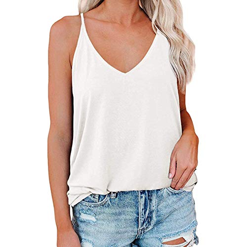 Kobay Women's Off Shoulder Tank Top,Ladies Summer Loose Casual Sexy O Neck Pleated Flowy T Shirt Tank Tops White M