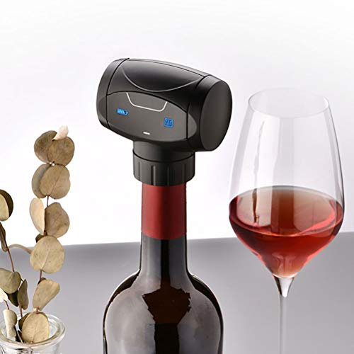 RUIYELE Tapón de vino al vacío, ahorro de vino eléctrico, bomba de vacío reutilizable para botella de vino con silicona de grado alimenticio, sellador de botellas para mantener el vino fresco