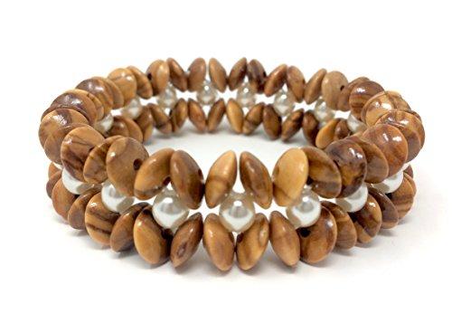bagusto Armband mit Olivenholzlinsen und weißen Schmuckperlen - handgemacht - Holzschmuck - Schmuck - edel - auch als Fußkettchen tragbar - Olivenholzschmuck - Damen - Blusen