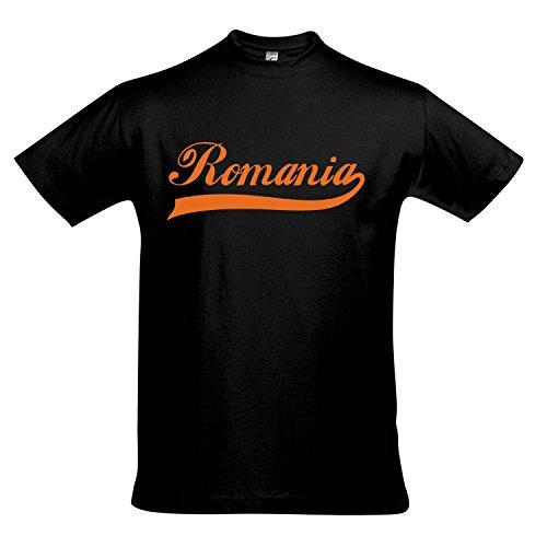 T-Shirt - Romania Oldschool Rumänien LÄNDERSHIRT EM / WM FAN Trikot S-XXL , Deep black - orange , XXL