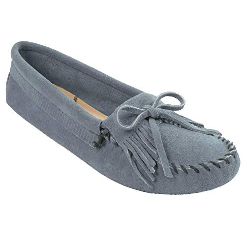 Minnetonka Women's Kilty Suede Softsole Moccasin,Storm Blue,6 M US