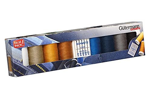 Gütermann creativ Juego de 8 bobinas de hilo vaquero profesional, 100 m, en los típicos colores de acolchado vaquero + 5 agujas para máquina de coser vaqueros de Schmettz.