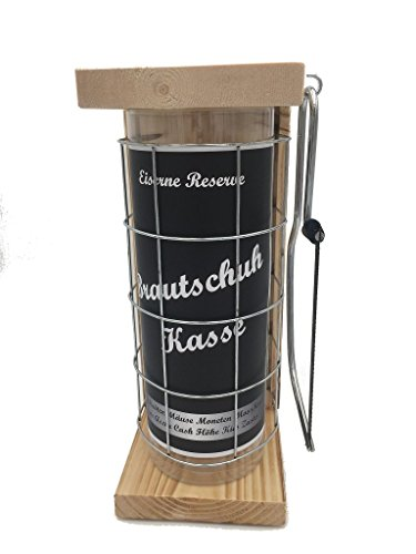 Brautschuh Kasse Eiserne Reserve Spardose incl. Säge zum zersägen des Gitter, Geldgeschenk, das andere Sparschwein, witzige Sparbüchse, Geschenkidee