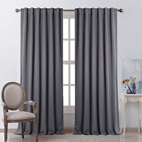 NICETOWN Bedroom Blackout Curtain Panels - (Gray Color) 52 x 108 Inch, 2 PCs, Insulating Energy Saving Solid Rod Pocket Blackout Drapes for Hall, Villa