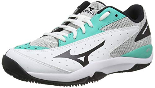 Mizuno Wave Flash CC, Zapatillas de Tenis Unisex Adulto, Blanco (Wht/Black/Atlantis 09), 39 EU